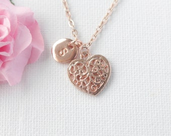 rose gold Heart Necklace, rose gold heart, rose gold  Heart Pendant, Love Jewelry, Wedding Jewelry, Anniversary Gift, , mothers day gift