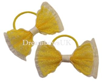 Yellow and white lace hair bows, Thin hair bobbles, Toddler hair elastics, Lace hair accessories, Summer hair decorations, Hair fashion UK