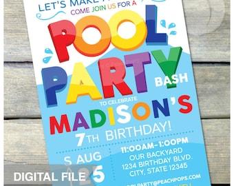 "Pool Party Birthday Invitation Summer Swim Splash - Blue - Boy or Girl - DIGITAL Printable Invite - 5"" x 7"""