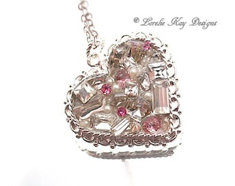 Rhinestone Heart Necklace Fine Silver Plated Elegant Heart Pendant Lorelie Kay Original