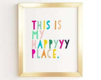 This is My Happy Place Ready-to-Hang Framed Wall Art, Living Room Bedroom Kitchen Decor, Cute Rainbow Typography Art Print, New Home Gift