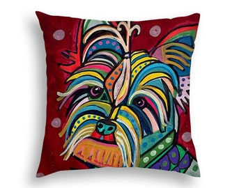 50% SALE- Yorkie Pillow Yorkshire Terrier Lovers Gift Throw Pillow - Folk Art by Heather Galler  (HG517)