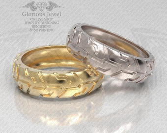 Glorious Tire Engagement or Wedding OOAK ring / 925 Sterling Silver / 14K Gold / Custom made / Made to Order