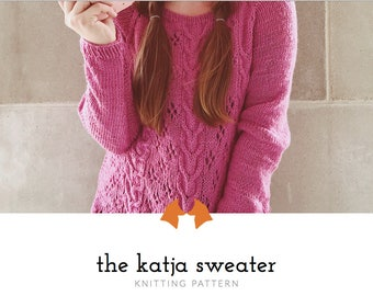Cable Knit Sweater, Knit Sweater Pattern, Knitting Pattern, Knitting Pattern for Woman, PDF Pattern, Jumper Pattern | Katja Cable Sweater