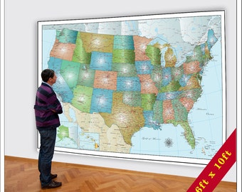 Large USA Map.  Huge Map of the USA.  6xft x 8ft map.  Large United States Map, Updated for 2016