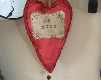 Valentine / Primitive Pin Keep/ Make Do/Primitive Valentine / Primitive Heart  Valentine / heart pillow/ Pinkeep