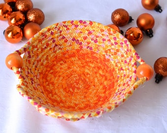 Spring Orange Decoration, Handmade Ring Candy Dish, Decorative Quilted Basket, Hand Coiled Fabric Bowl, Desk Accessory Bowl