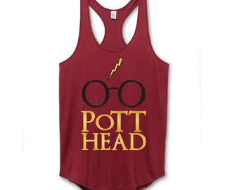 Pott Head Tank Top Maroon and Gold, Harry Potter Shirt Gift The Original Pott Head Design