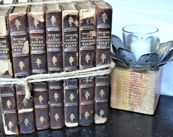 BOOK STACK 1900s Collectible Books Set of Seven Brown Stacked Books Works of James Whitcomb Riley