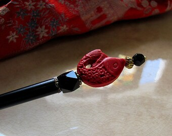 Asian Red Cinnabar Koi Beaded Wood Chopstick Hair Stick or Shawl Pin