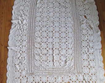 "Great Grandma's 1930's handmade 100% cotton crochet tablecloth measures 52"" x 90"""