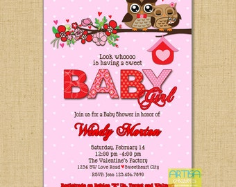Valentine's Baby Shower Invitation, Valentine's Owls Invitation, Valentines Owls Baby Shower, Owls baby girl shower invitation, owls hearts