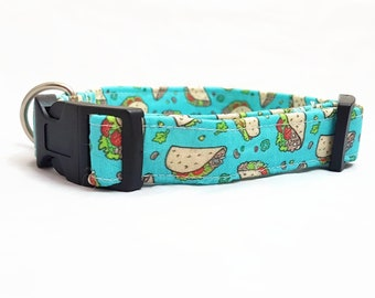 "Dog Collar - ""Taco"" - Fast Food/Foodie Dog Collar - Turquoise/Light Blue - Fun/Funny/Cool Dog Collars - Soft/Durable Dog Collar - Cotton"