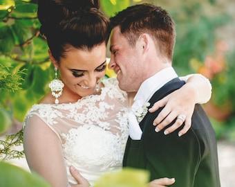 Large statement bridal chandelier earrings