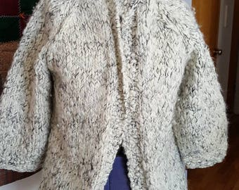 Vintage handknit women's size L - XL wool cardigan gray white and black yarn 3/4 length sleeves