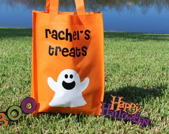Trick or Treat Bag, Halloween Treat Bag, Personalized Vinyl Bag,Ghost Treat Bag, Trick or Treat Bag