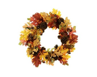 Autumn Oak Leaf, Acorn and Pine Cone Wreath 60cm