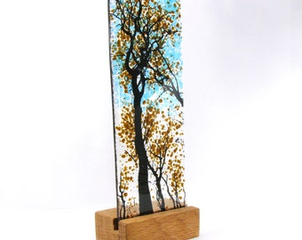 Fused Glass Brown Tree in wood stand 21cm x 8cm
