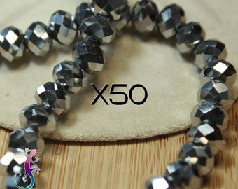 50 glass beads 6 x 4, 5 mm faceted silver