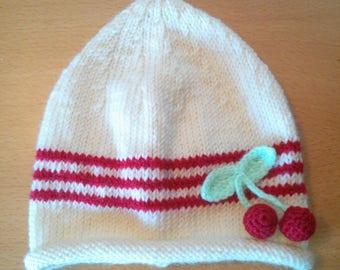 Cherry wool newborn Hat acrylic
