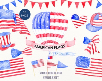 American Flag Clip Art - Watercolor Air balloon, American hat, ribbons, buntings for instant download for celebrating, independence day,
