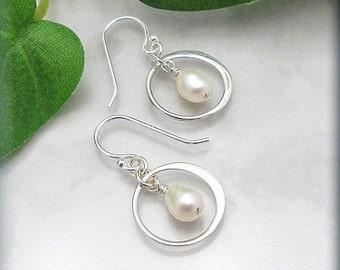 Freshwater Pearl Earrings Sterling Silver White Pearl Bridal Wedding Jewelry Pearl Drop