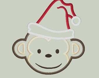 MOD Monkey look alike Applique Design with SANTA HAT