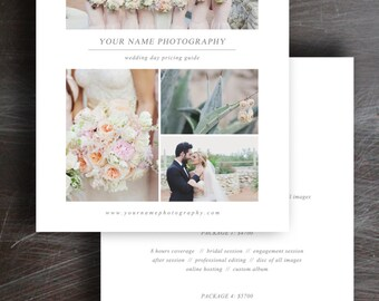 Wedding Photography Price List - Pricing Guide Template - Photo Marketing - Digital Photoshop Templates