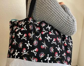 Pirate Skull and Crossbone Reusable Bag/Reusable Tote