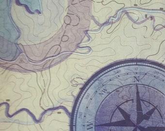 On Course, monoprint, unique, print, uncharted, map, blue, purple, rice paper, compass,