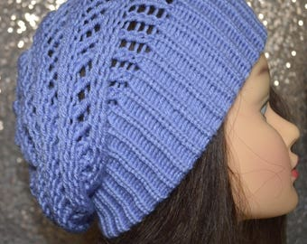 Soft and Slouchy Periwinkle Knit Beanie