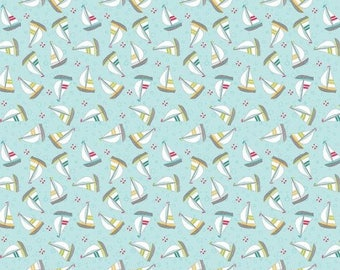 Fat Quarter Sunday Ride Yachts Sailing Boats 100% Cotton Quilting Fabric