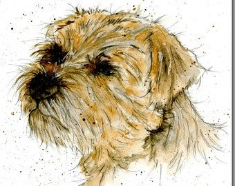 Border Terrier Greeting Card - Dog Birthday Card, Blank Inside, Watercolour, Animal Card