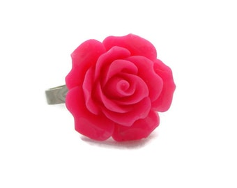Hot Pink Rose Ring - Rockabilly, Pinup, Retro Flower Jewelry - Womens, Girls - Adjustable
