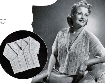 Pamela and Pam Women's Bed Jacket with matching baby jacket Pattern PDF / Vintage shell stitch Bed jacket knitting pattern / Nursing jacket