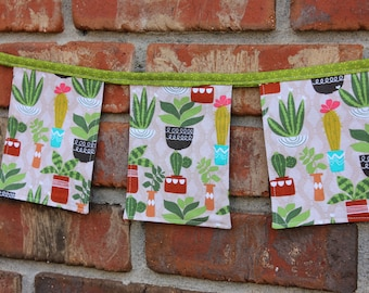 Cloth Banner Succulent 3 1/2 ft Cactus Plants Green Spring Bunting