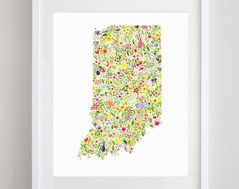 Indiana State Floral Watercolor Art Print - Available in Any State