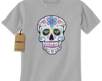 Sugar Skull White Print Dia De Los Muertos Mens T-shirt