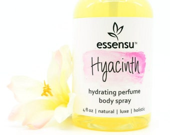 Hyacinth Moisturizing Perfume Natural Body Spray   Safe , Non-Toxic Fragrance   Hair Perfume   Hydrating Body Mist   Vegan No Gluten - 4 oz