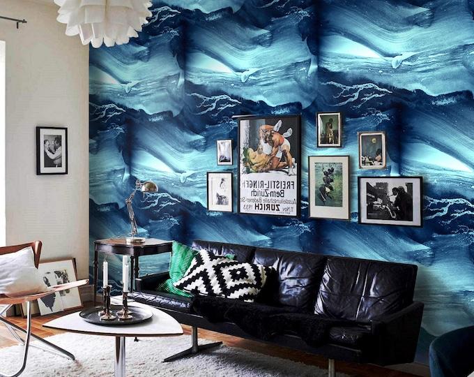 Action Painting Wallpaper - Watercolor Wallpaper - Blue Wallpaper