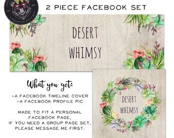 Facebook Set, Facebook Timeline Cover, Facebook Logo, Facebook Template, Cactus Facebook Set, Desert Facebook Cover