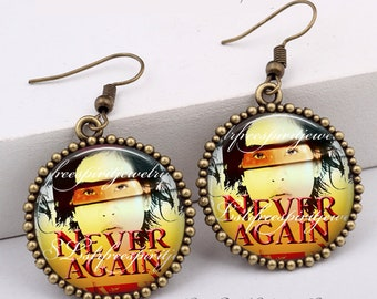 Protest Earrings, Never Again, Collage Art Earrings, One inch Circle Dangle Earrings, Gun Reform, Revolution, Protest Movements