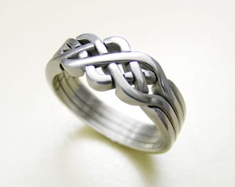 PIONEER - Unique Puzzle Rings by PuzzleRingMaker - Sterling Silver or Gold - 4 Bands