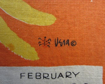 Vintage Vera Neumann Calendar Hand Towel from 1965