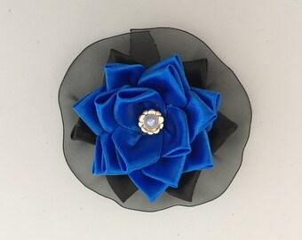 Blue and Black  Kanzashi Flower Brooch.3
