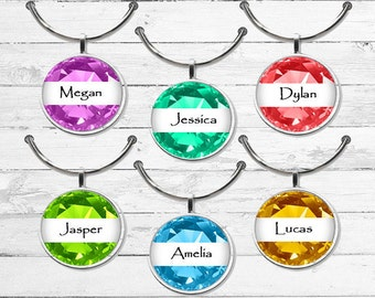 Gem stone wine charms party favor charms wine charm gift  custom wine charms gem stone wine tags shower favors personalized wine charms