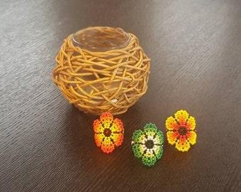 Huichol Jewelry - Huichol Beaded Ring - Boho Ring- Mexican Jewelry - Beaded Ring - Flower Ring -Mexican Ring -Statement Ring -Funky Ring