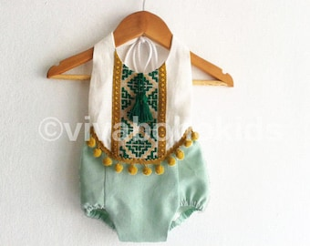 Mint Green Baby Girl Romper/ Linen Boho Chic Sunsuit/ Baby Clothes/ Pom Pom/ Photo Props/ Size: NB,0-3,3-6,6-12,12-18,18-24 mths, 2-6 years