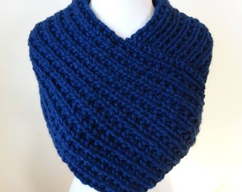 Knit Cowl, Knit Neck Warmer, Textured Rib Stitch Cowl Neck Warmer in Navy - Acrylic - Soft Cowl - Warm Cowl - Gift for Her