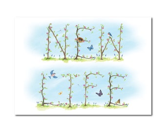New Life Print - Garden Vine Inspirational Word Art Print